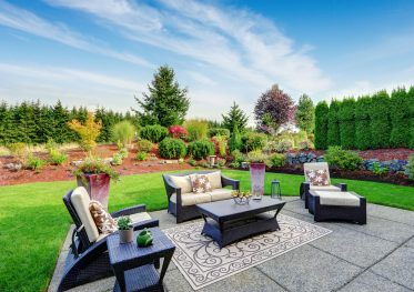 A backyard and patio example of landscaping possibilities.